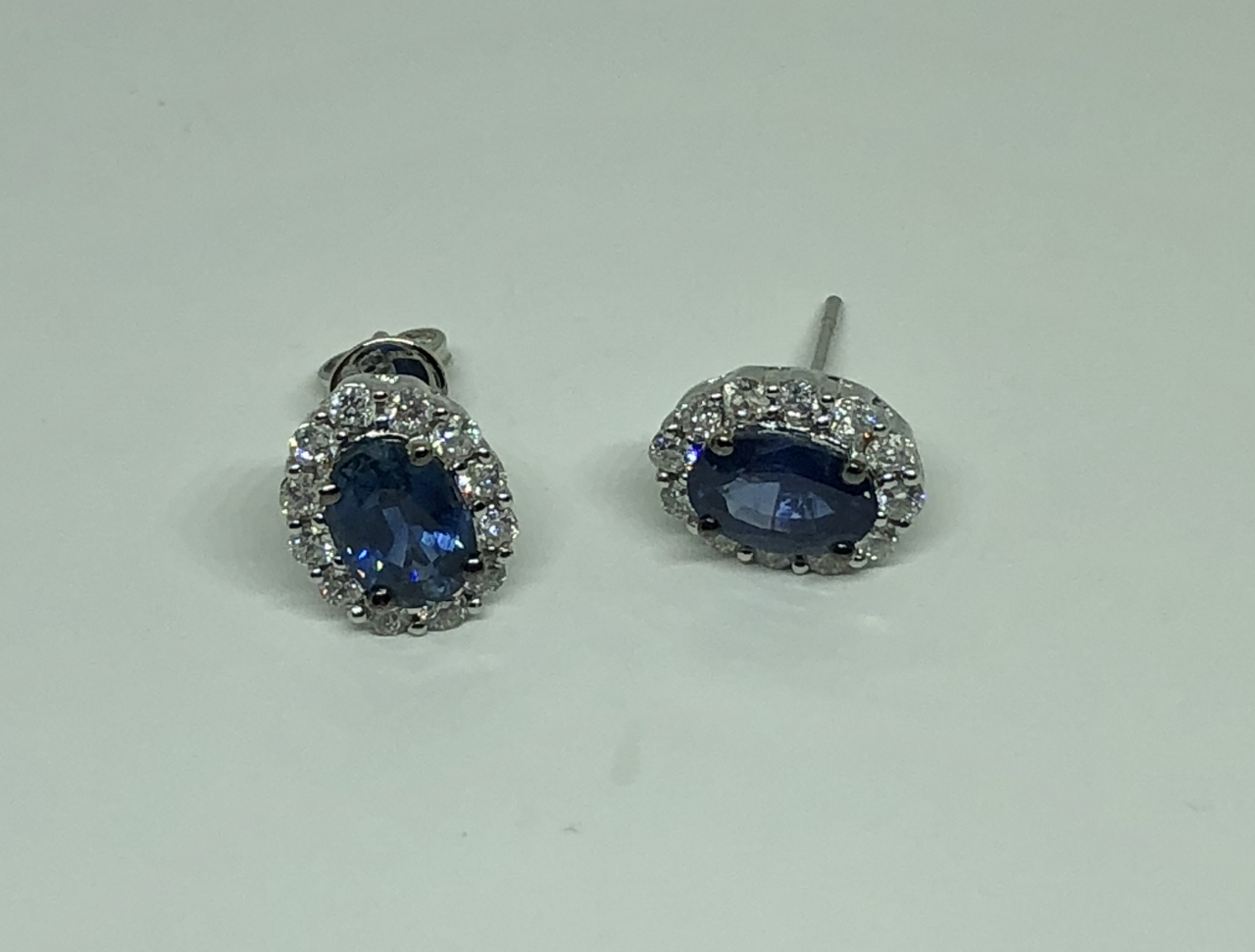 Almost 2 Carats Total Weight Sapphire & Diamond Earrings