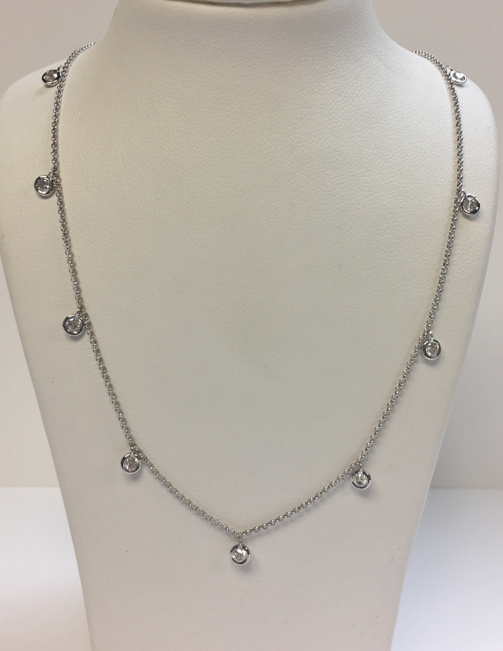 Half Carats Total Weight Station Diamond Necklace