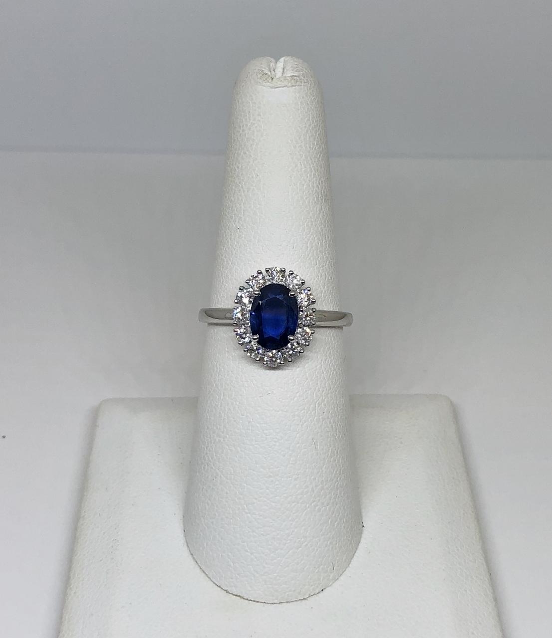 1 Carat Sapphire Diamond White Gold Ring