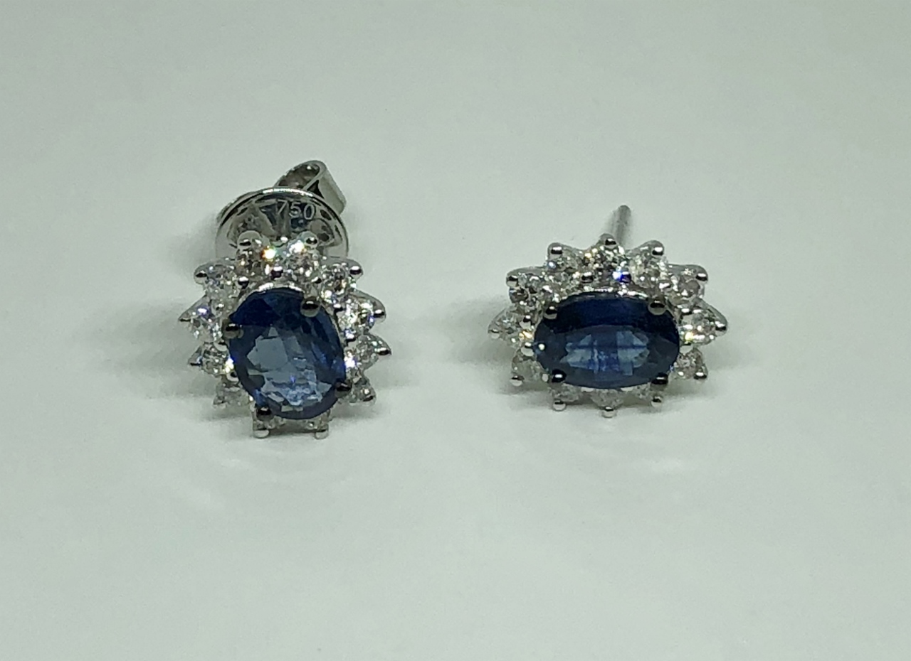 1-3/4 Carats Sapphire Diamond Earrings