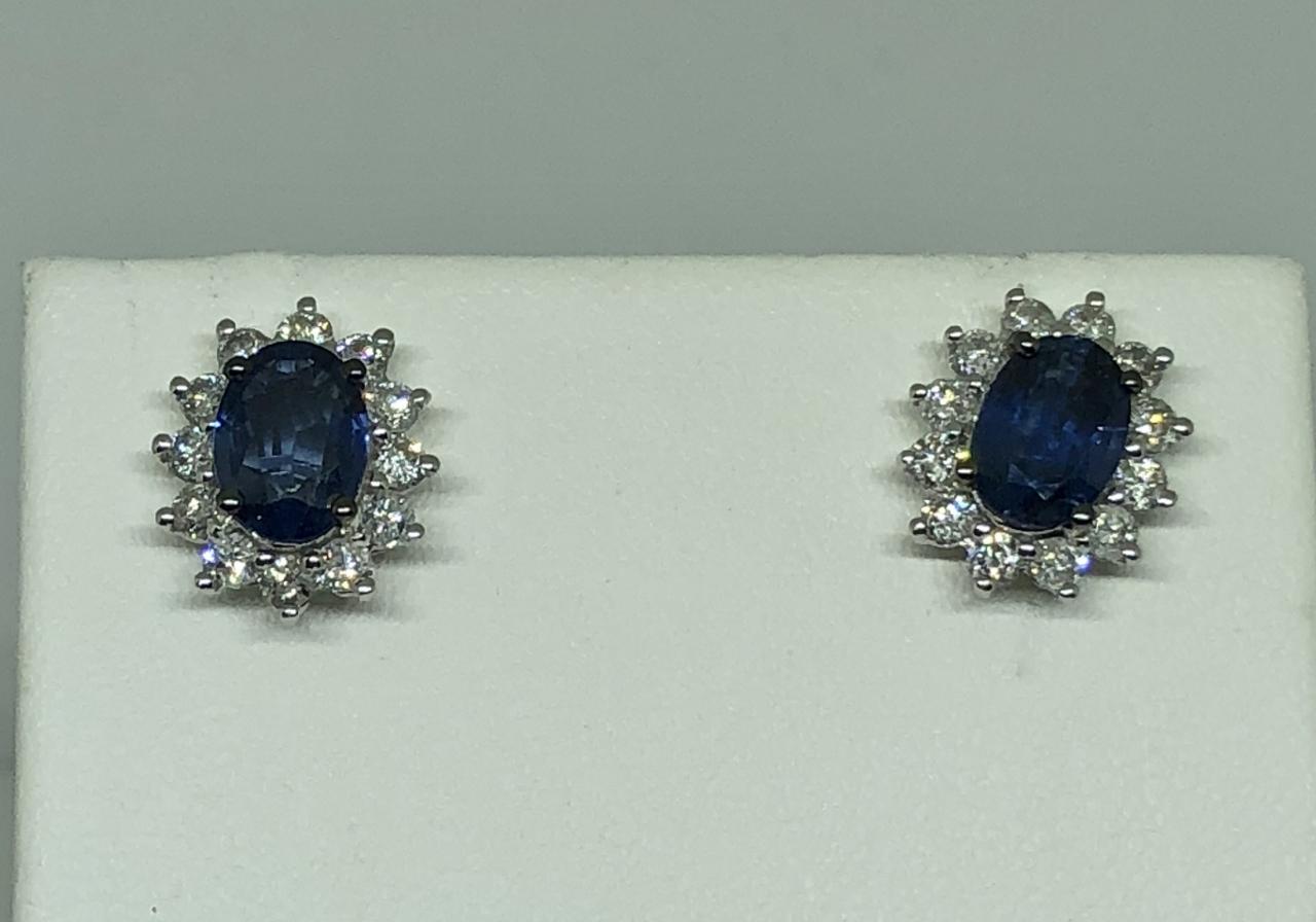 1-3/4 Carats Sapphire Diamond Earrings