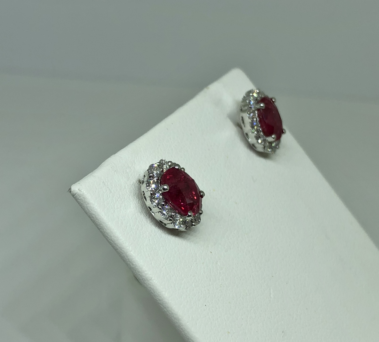 Almost 2 Carats Ruby Diamond Earrings