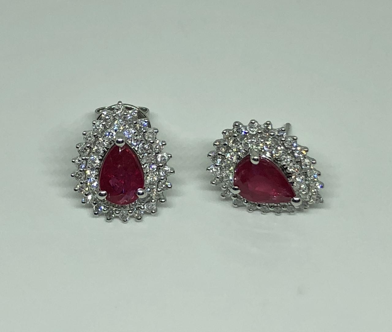 1.50 Carats Ruby Diamond Earrings