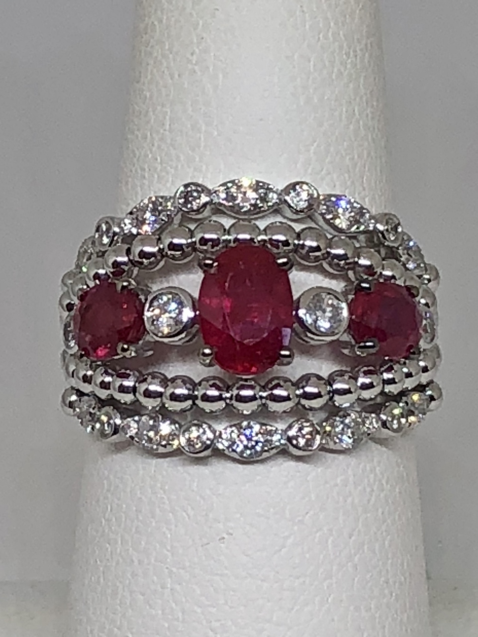 Almost 2 Carats Ruby Diamond White Gold Ring