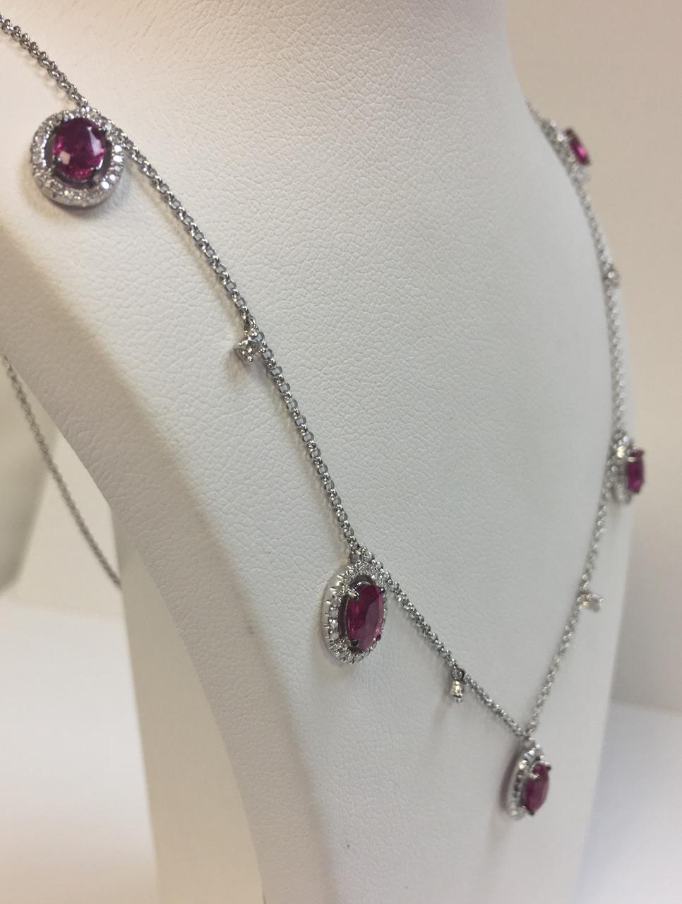 Stationed Ruby Diamond Necklace In White Gold