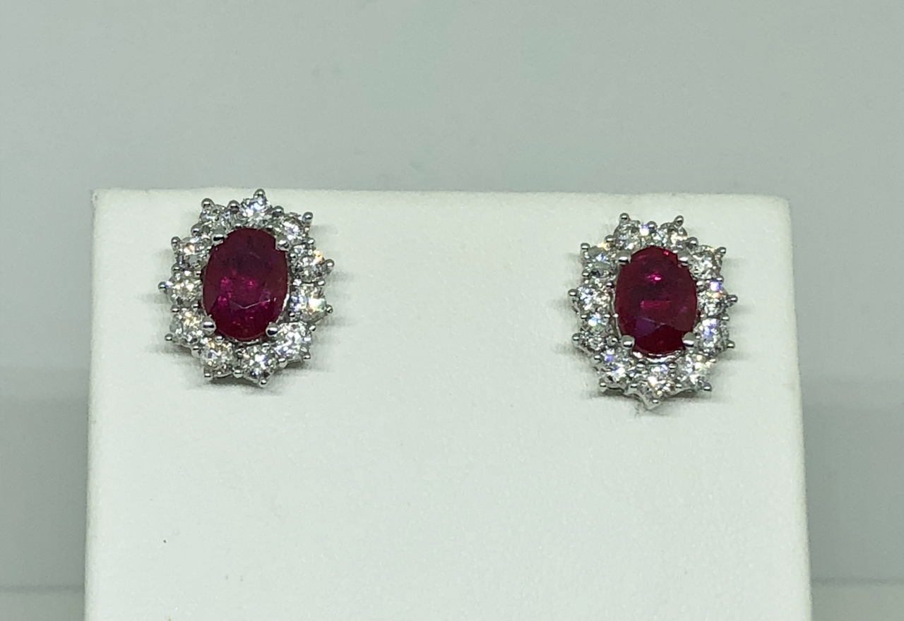 Over 1.50 Carats Ruby Diamond Earrings