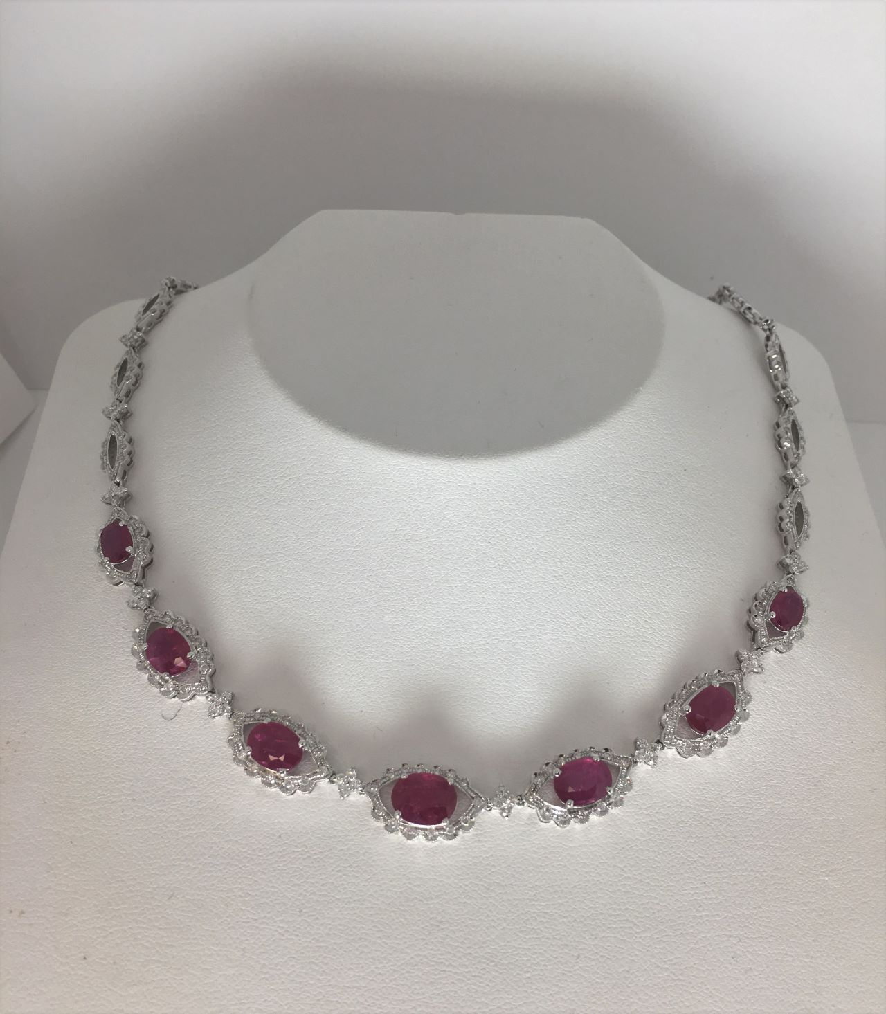 Over 8.50 Carats Ruby & Diamond White Gold Necklace