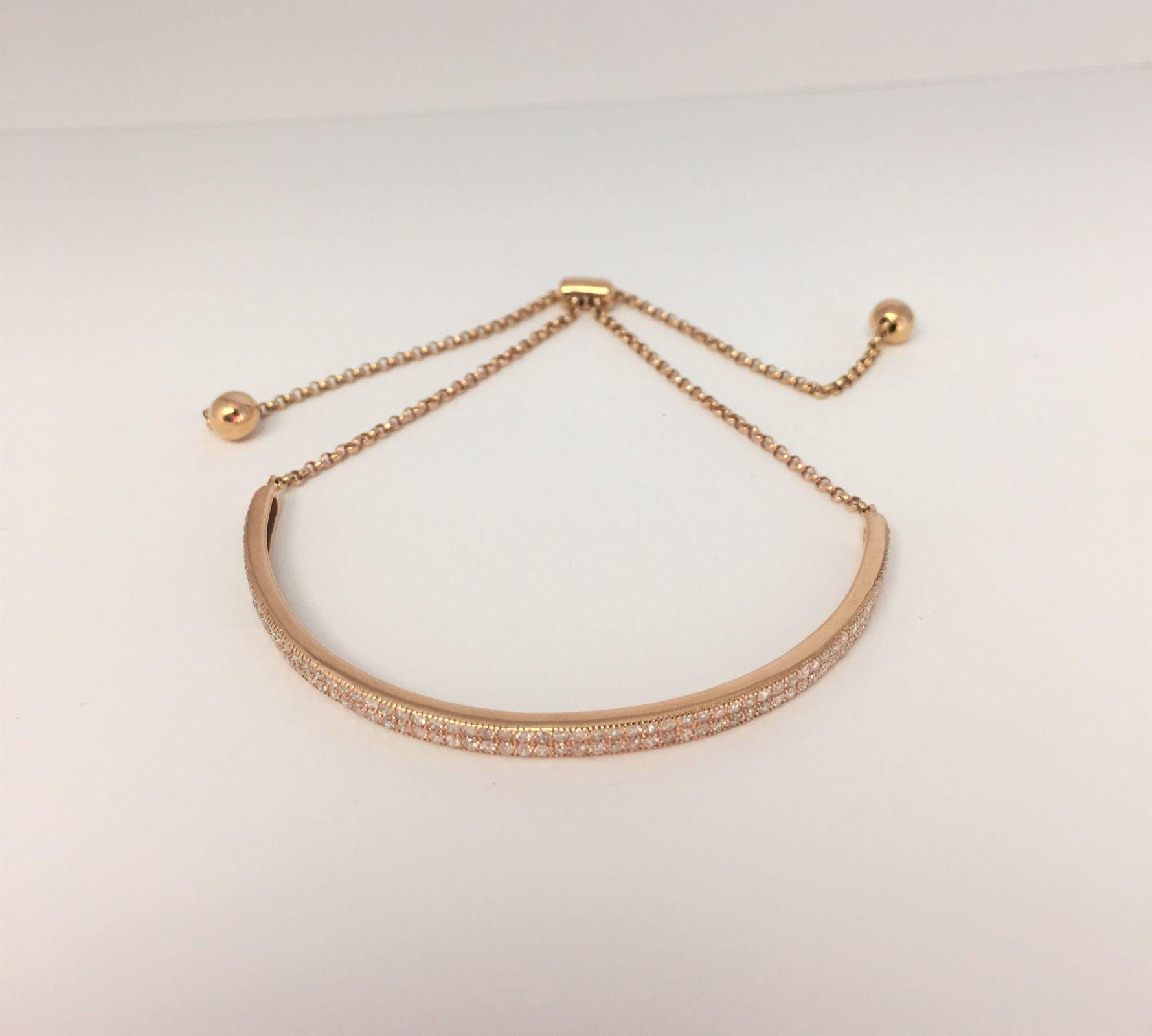 1 Carat Diamond Adjustable Bangle Bracelet In Rose Gold