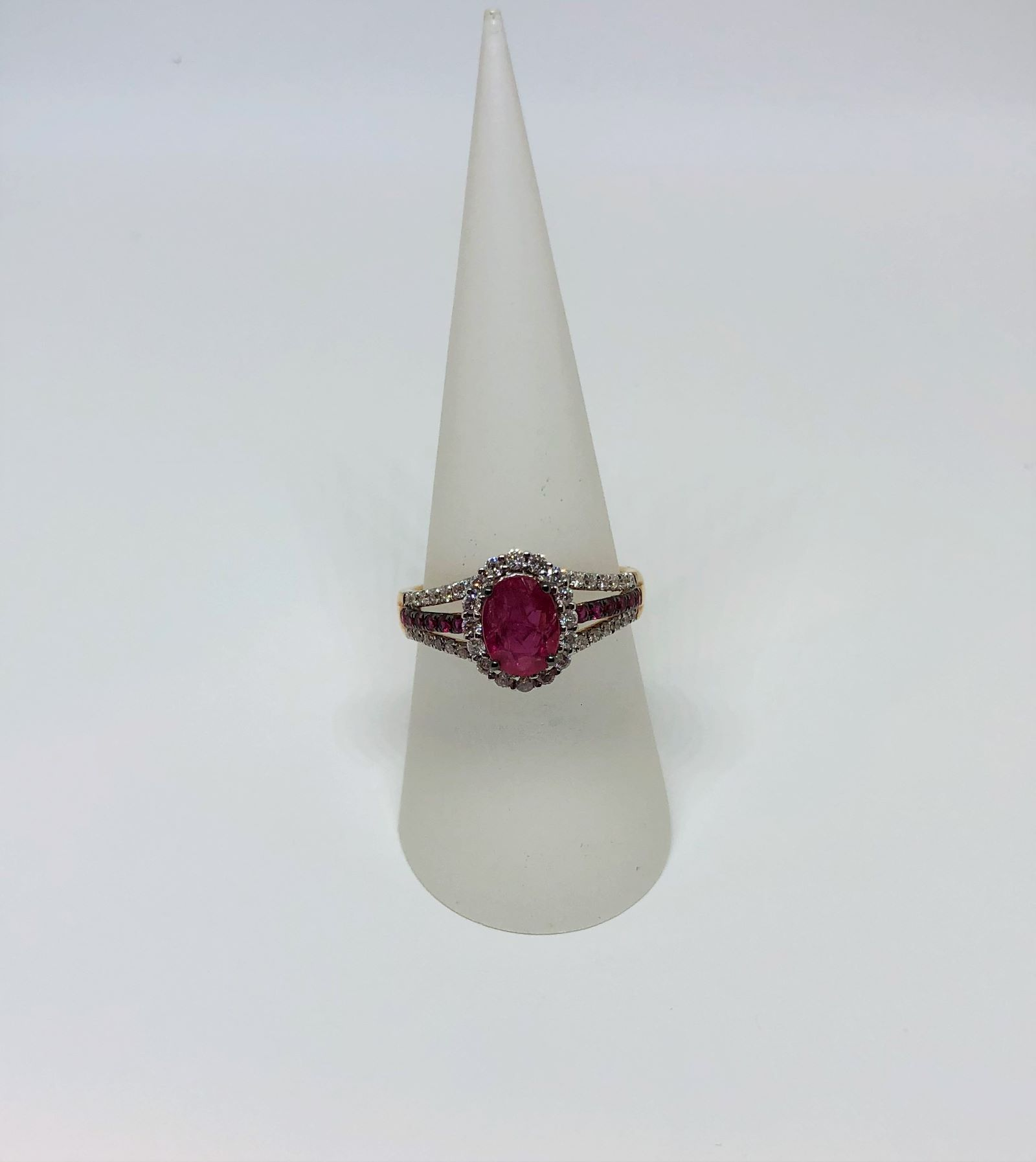 Over 1.5 Carats Ruby & Diamond White Gold Ring