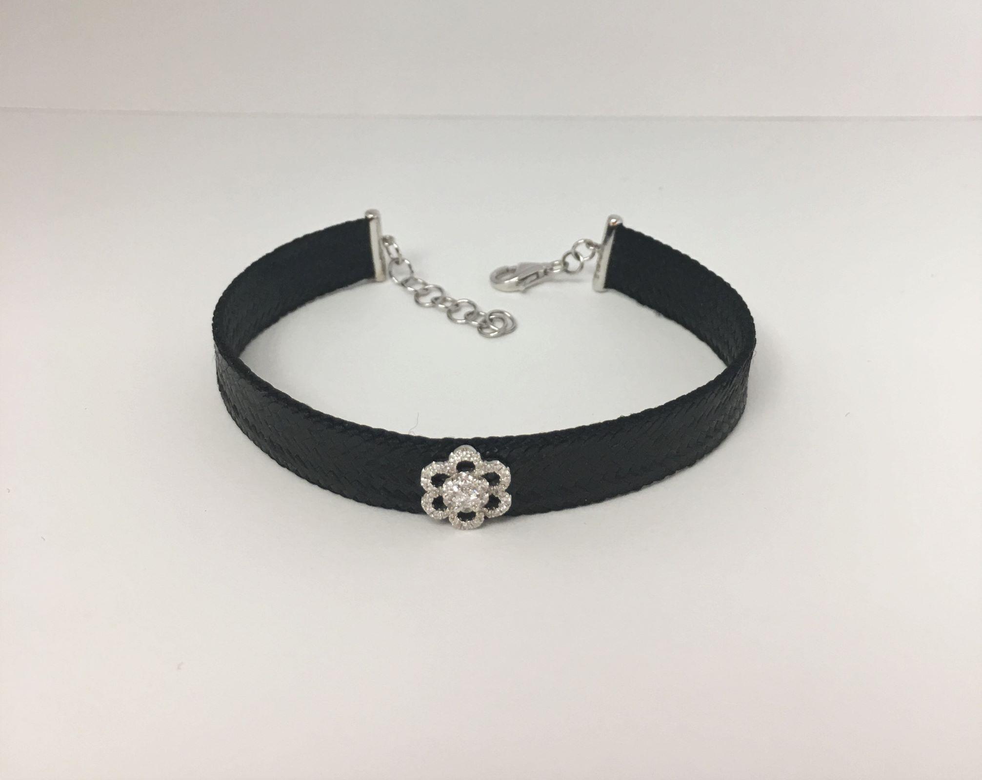 Black Color Fabric Bracelet With Diamonds