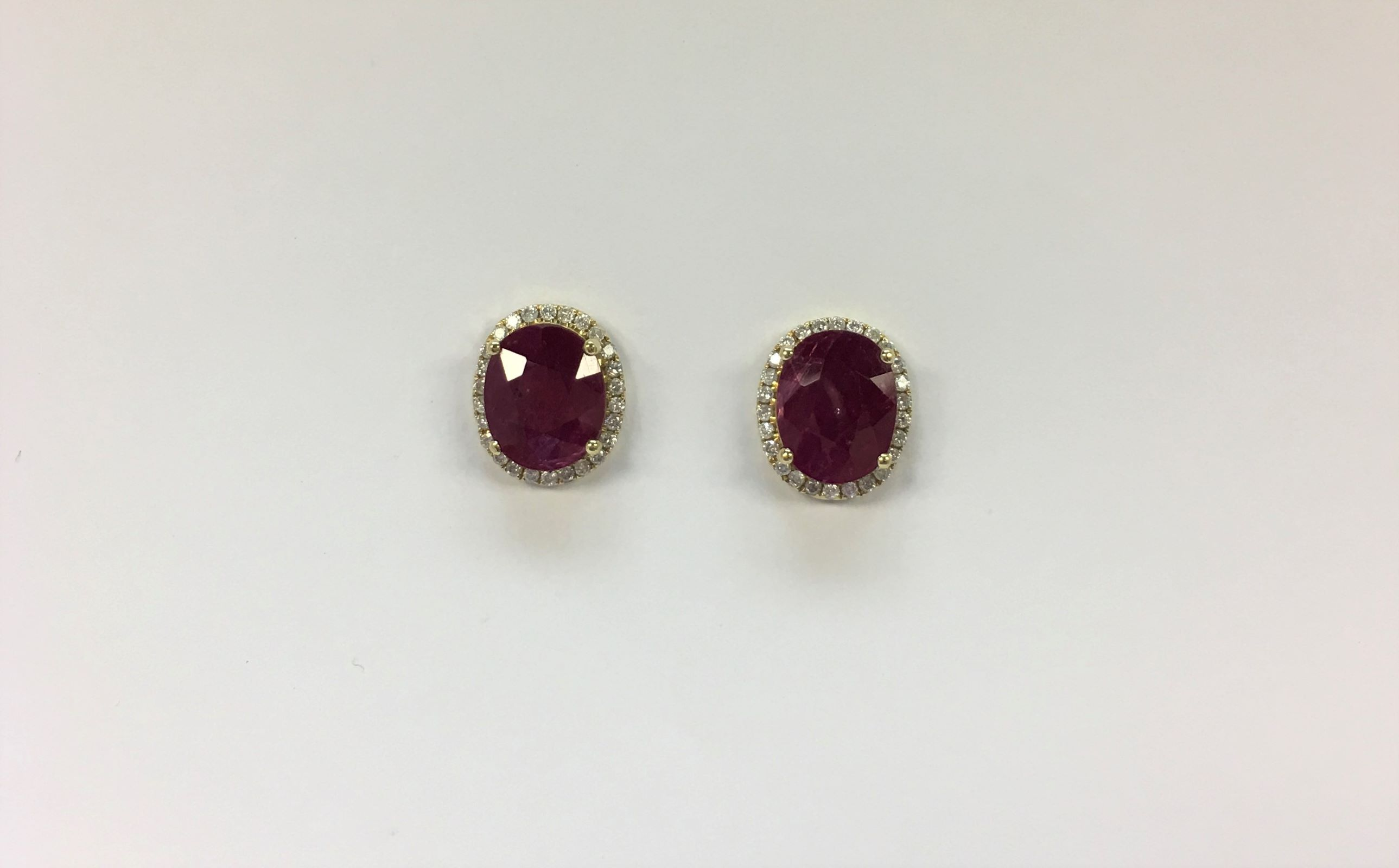 Over 5 Carats Total Weight Ruby & Diamond Earrings
