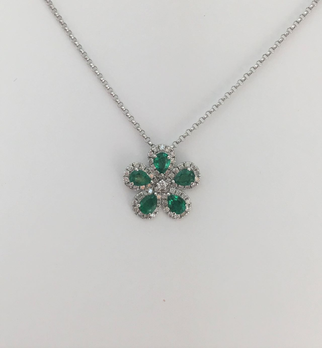 Over Half Carats Emerald Floral Design Pendant