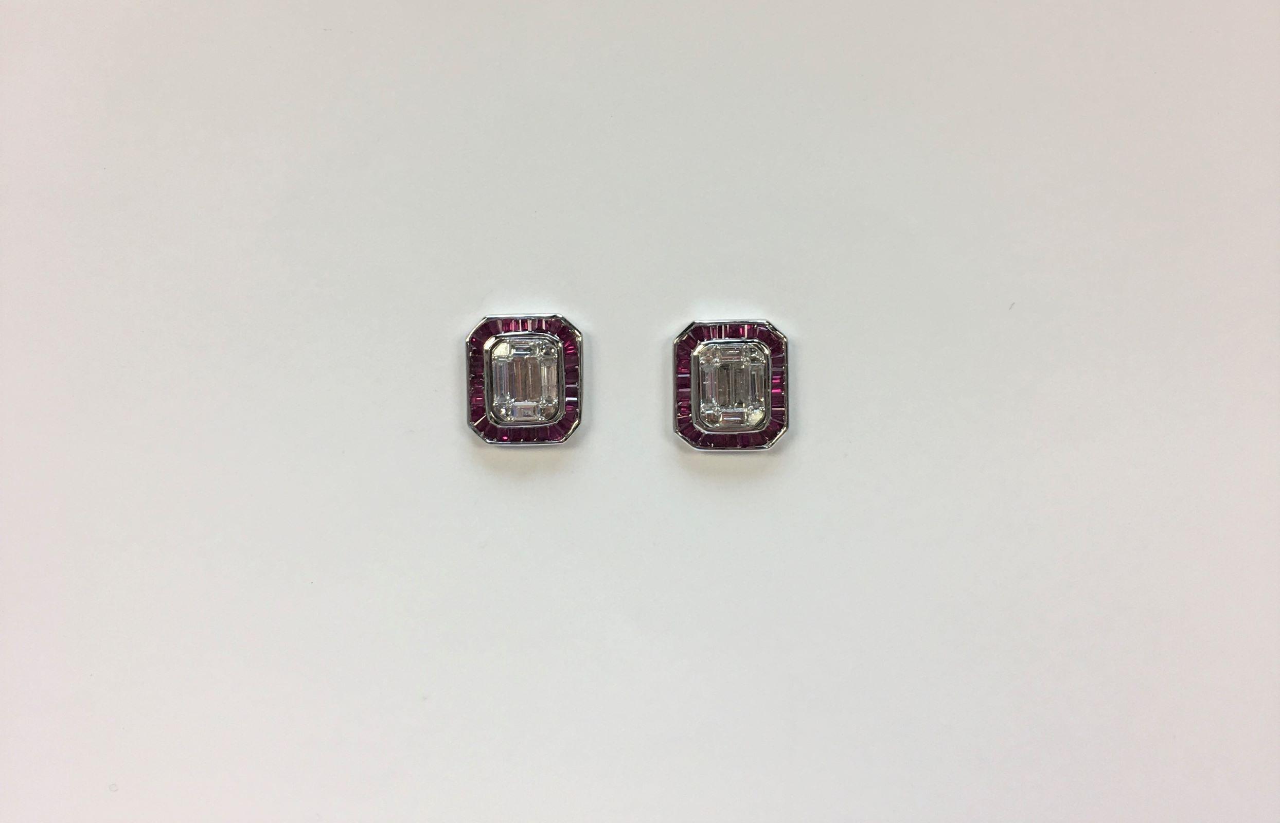 18K White Gold Diamond Earrings With Earring Jackets