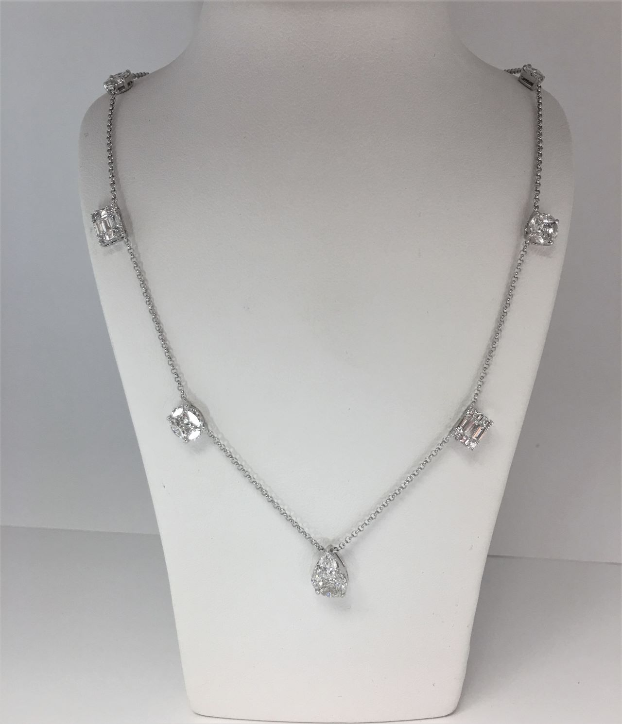 2 Carats Total Weight Station Diamond Necklace