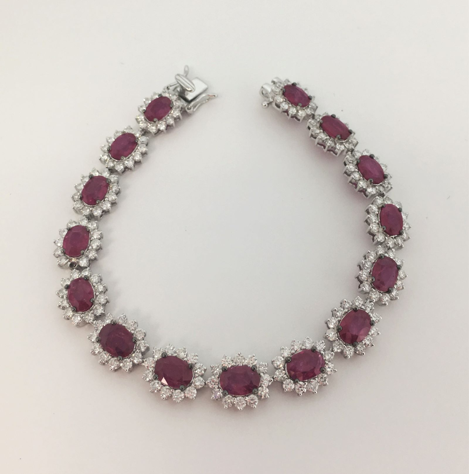 12 Carats Ruby & Diamond White Gold Bracelet