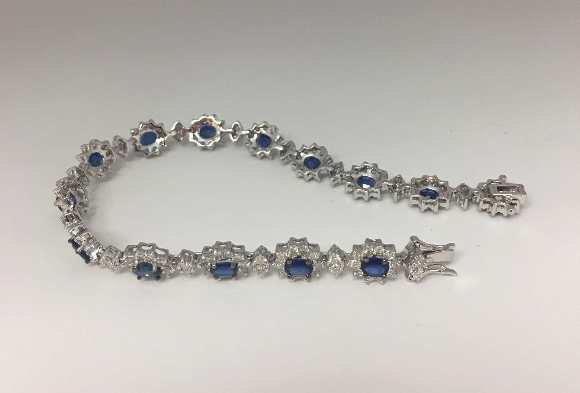 5.50 Carats Sapphire & Diamond White Gold Bracelet