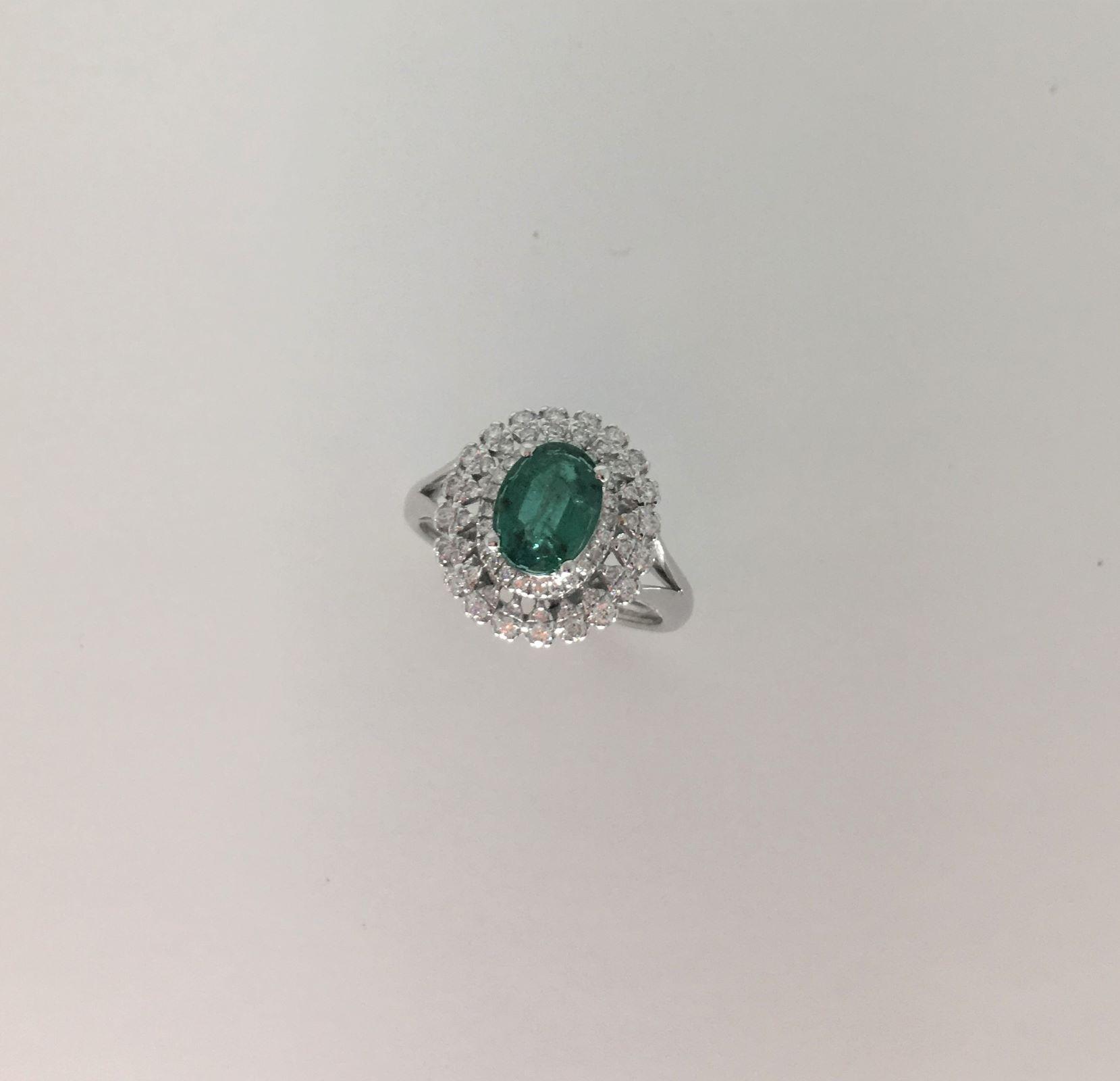 1 Carat Emerald Diamond Ring