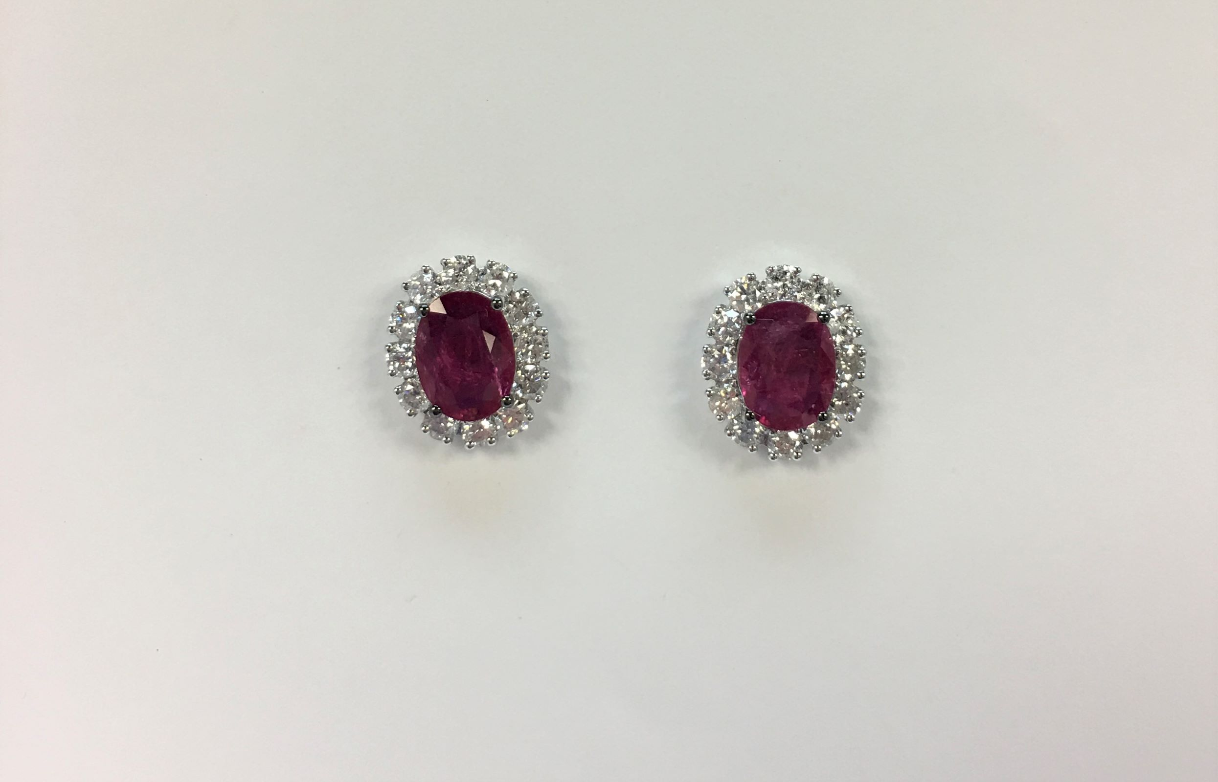 2 Carats Ruby & Diamond Earrings