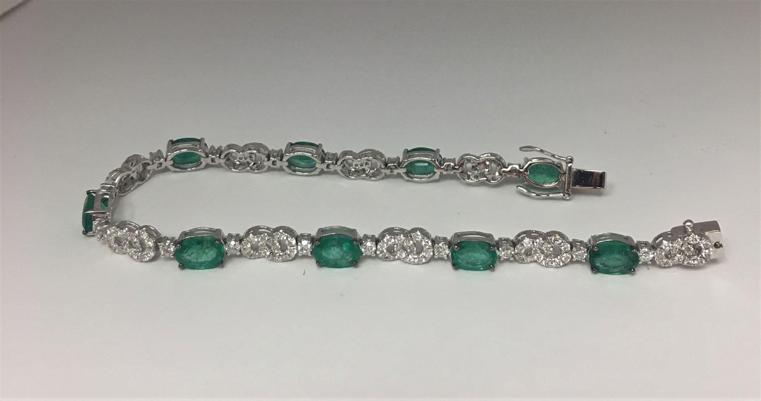 Over 6 Carats Emerald & Diamond Bracelet