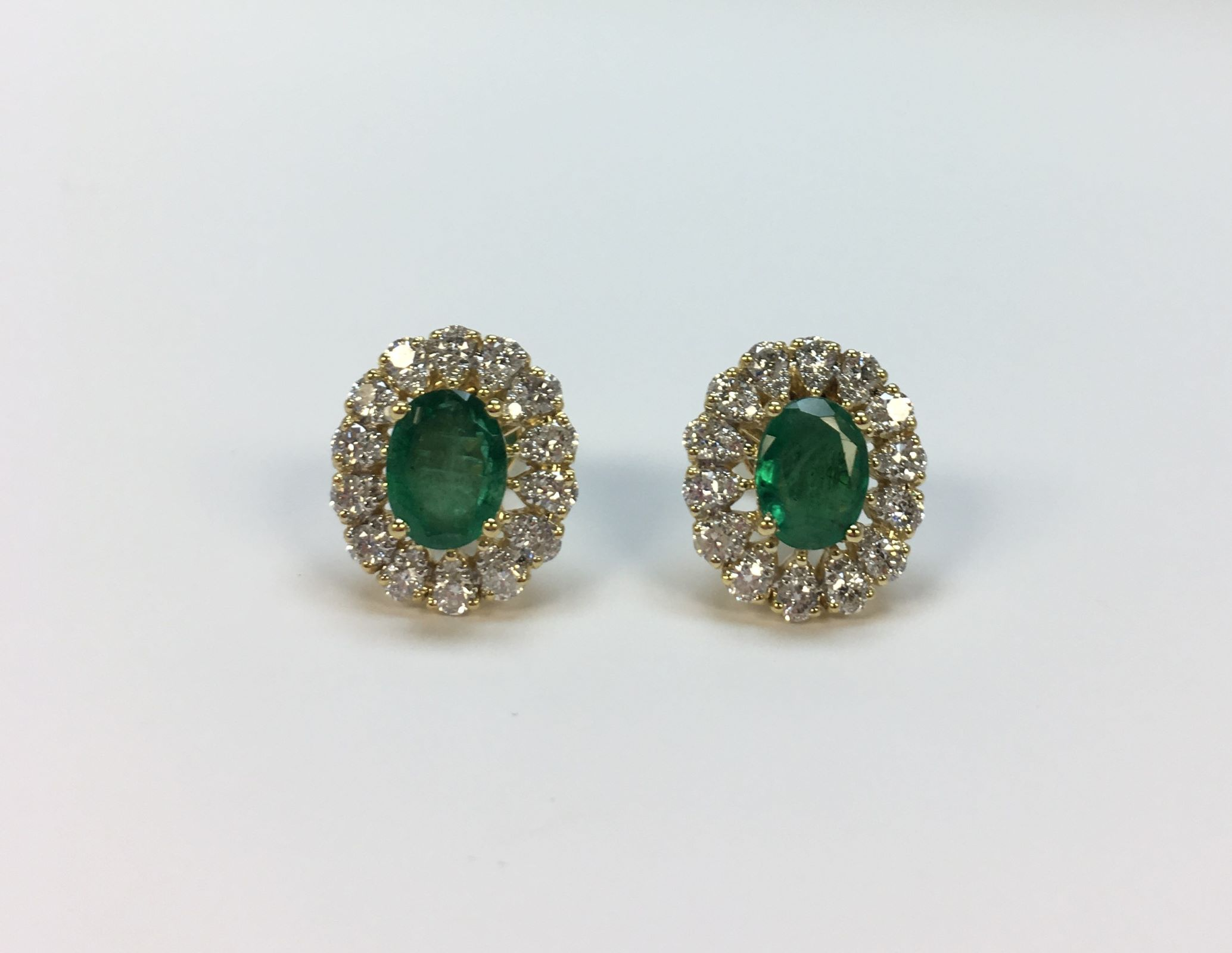 Almost 2 Carats Total Weight Emerald & Diamond Earrings