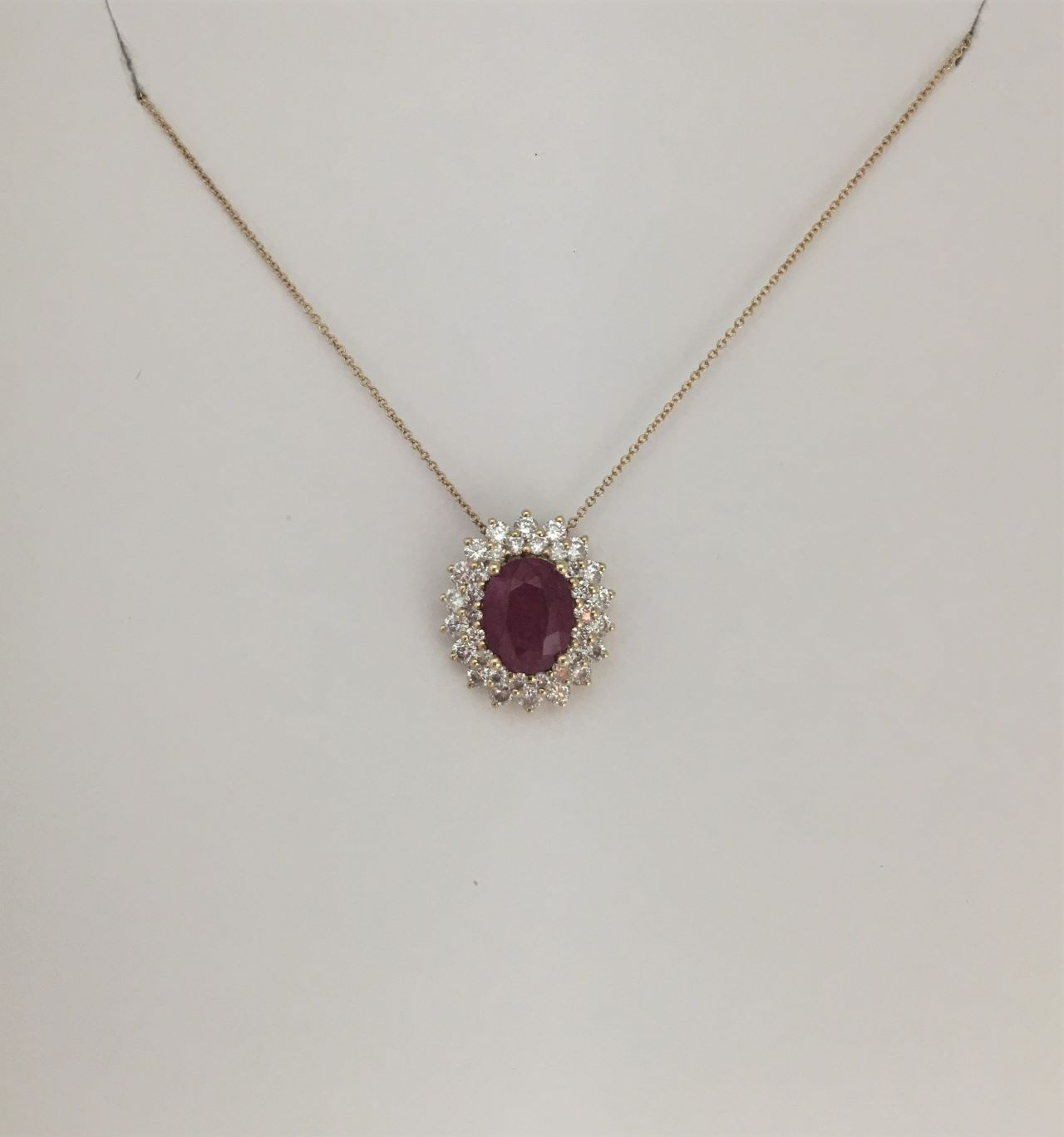 Over 1.50 Carats Ruby Yellow Gold Pendant With Chain