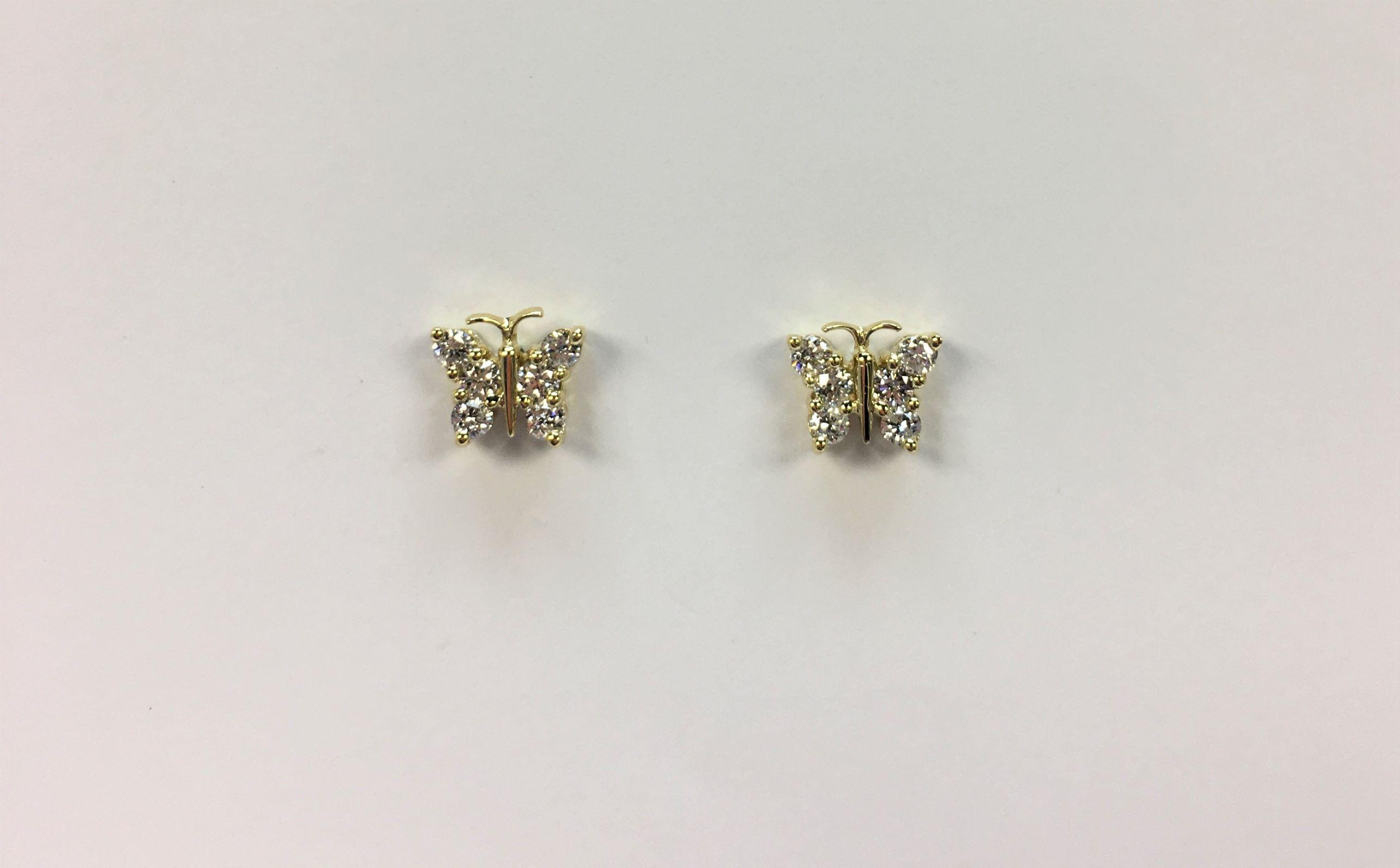 18K Yellow Gold Butterfly Diamond Earrings