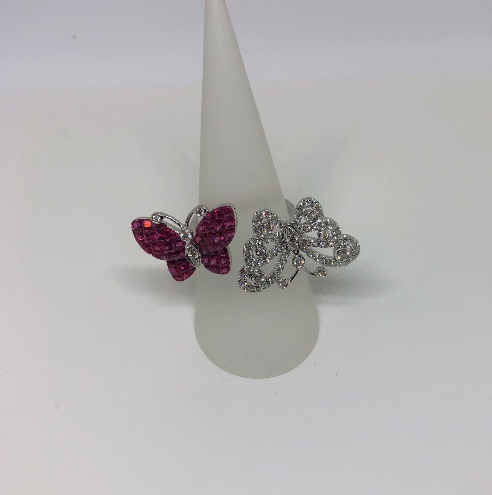 Double Butterfly Design Ruby & Diamond White Gold Ring