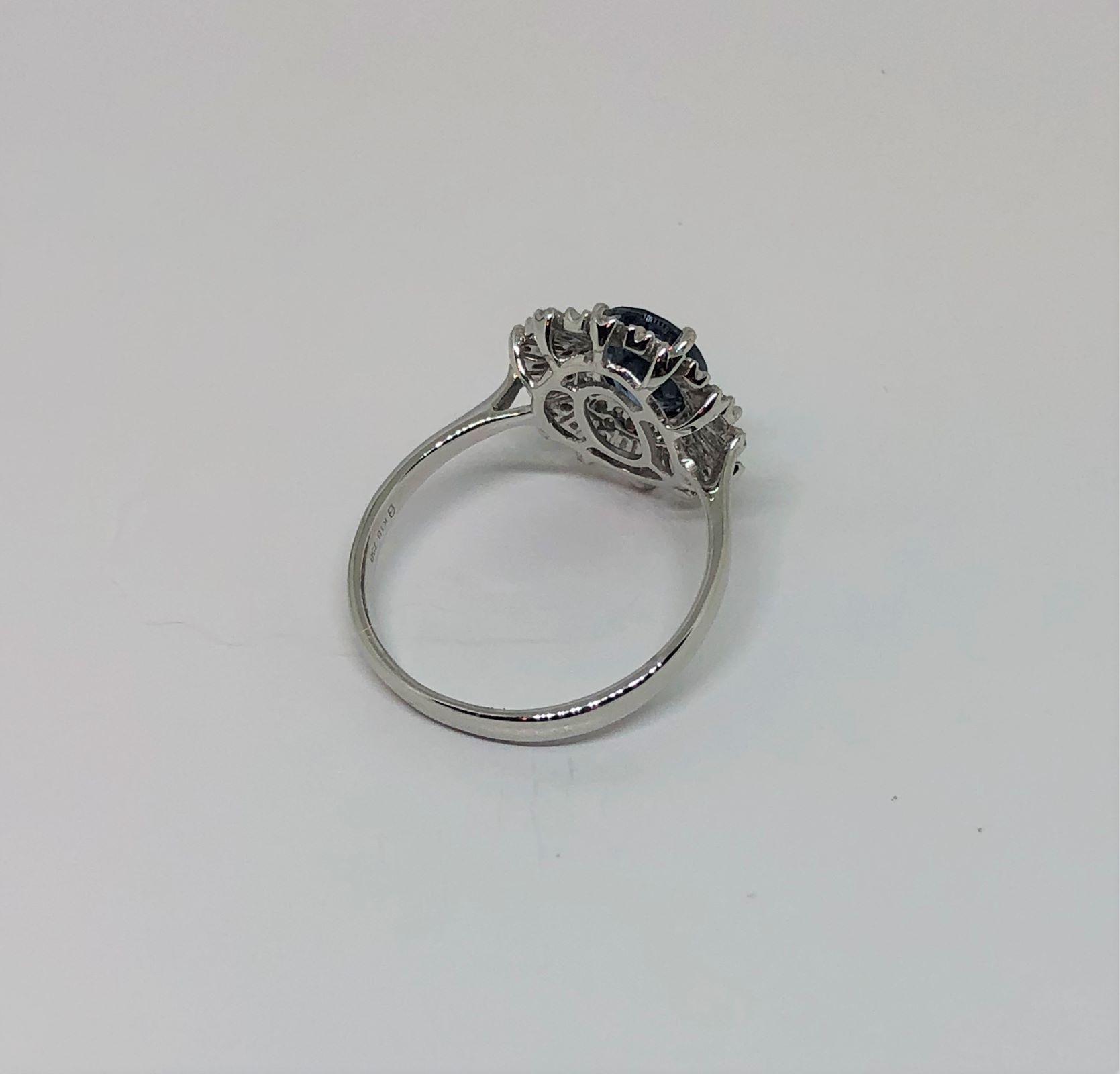 Over 1 Carat Sapphire & Diamond White Gold Ring