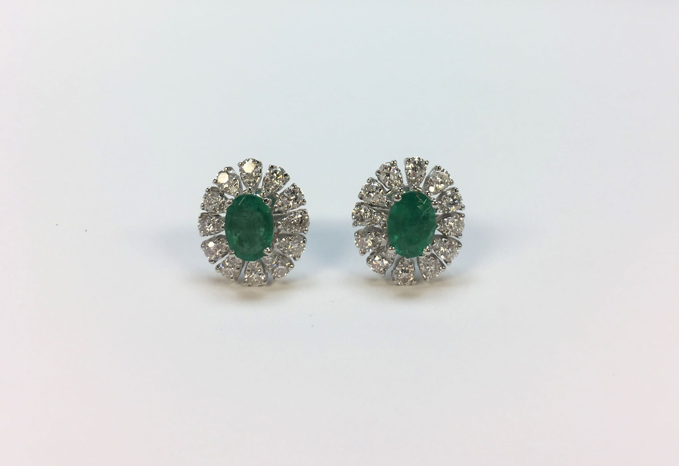 Over 1.50 Carats Emerald & Diamond Earrings