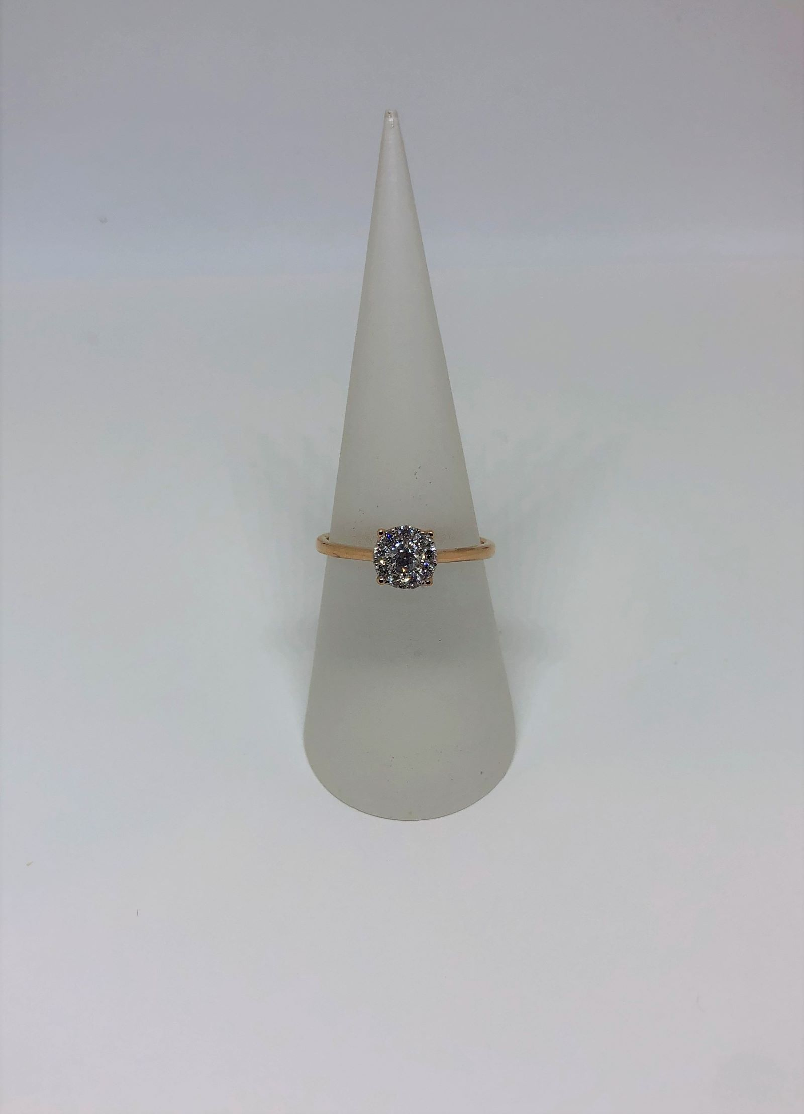 1/3 Carats Total Weight Rose Gold Diamond Ring