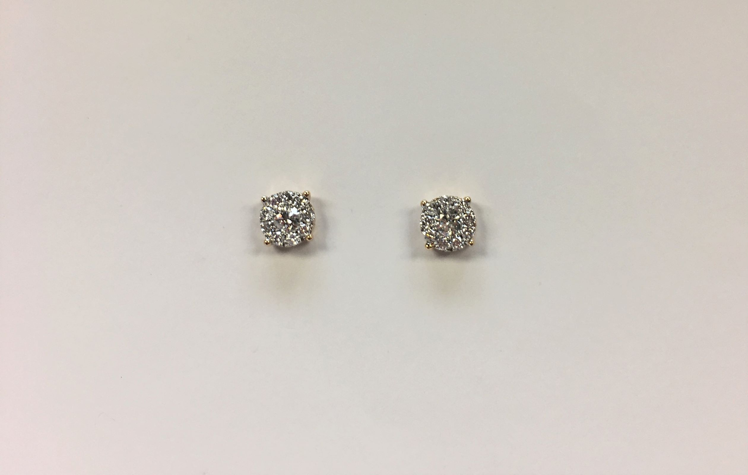Half Carats 18K Rose Gold Cluster Diamond Earrings