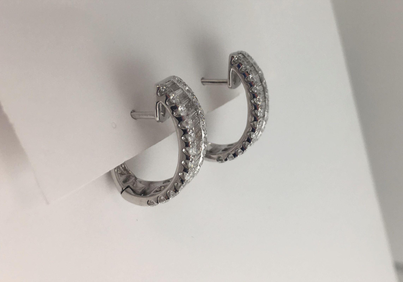 2 Carats Total Weight Diamond Hoop Earrings