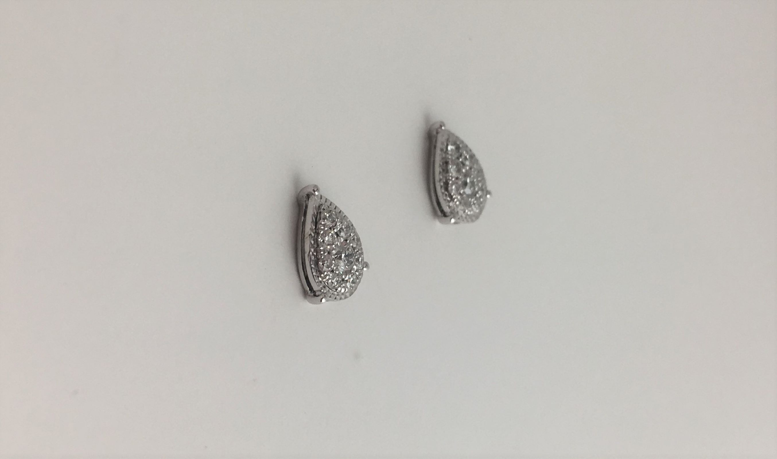 1/3 Carats Total Weight Cluster Diamond Earrings