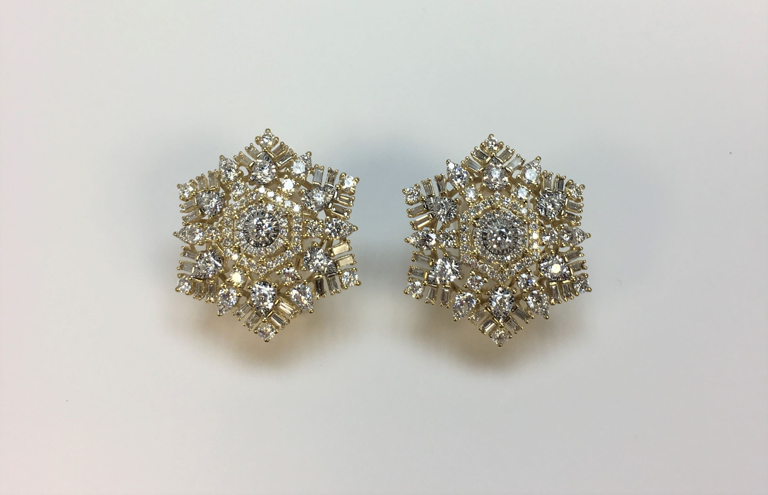 Almost 3 Carats Total Weight Yellow Gold Diamond Earrings