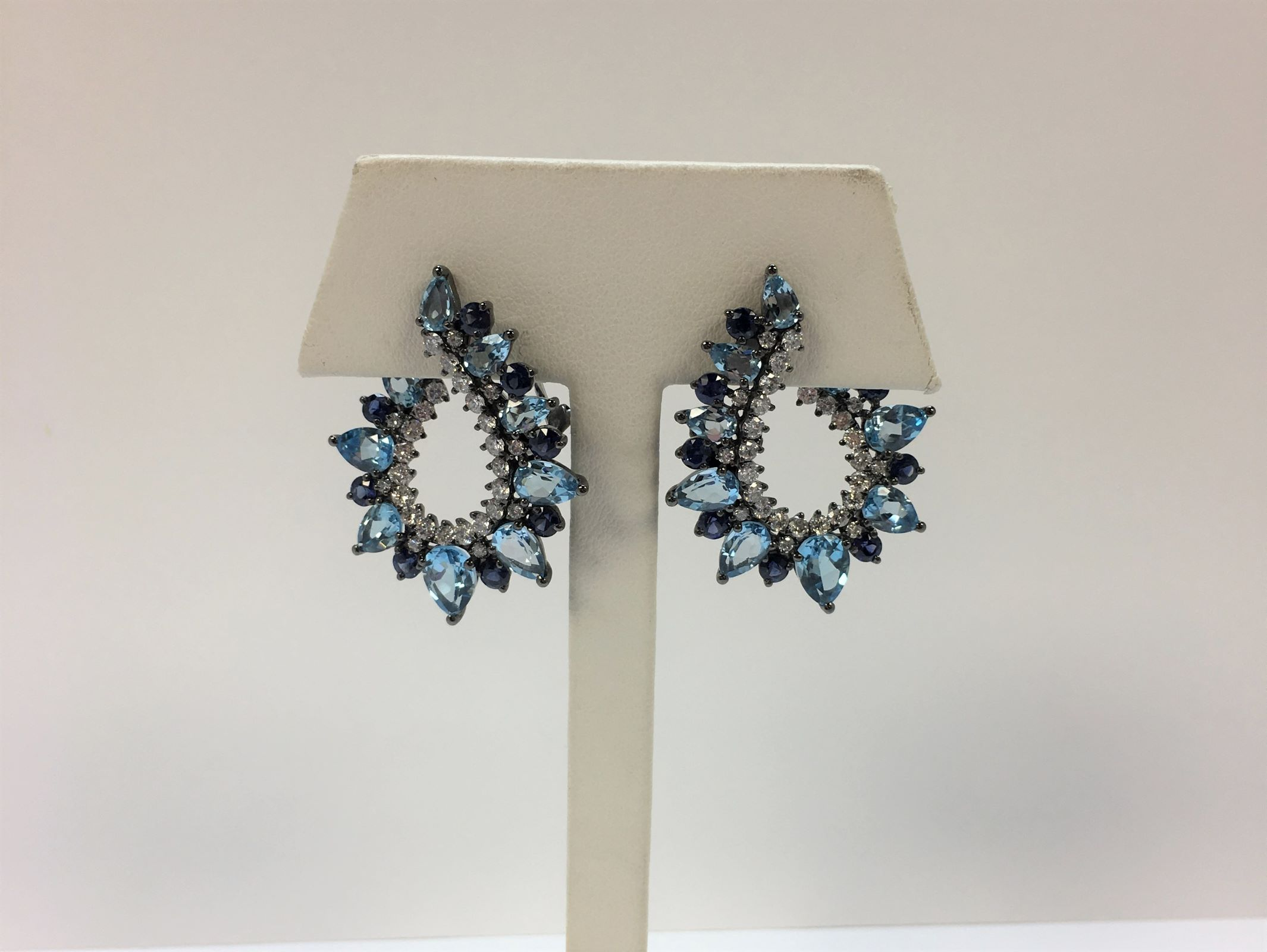 Topaz, Sapphire, & Diamond Earrings