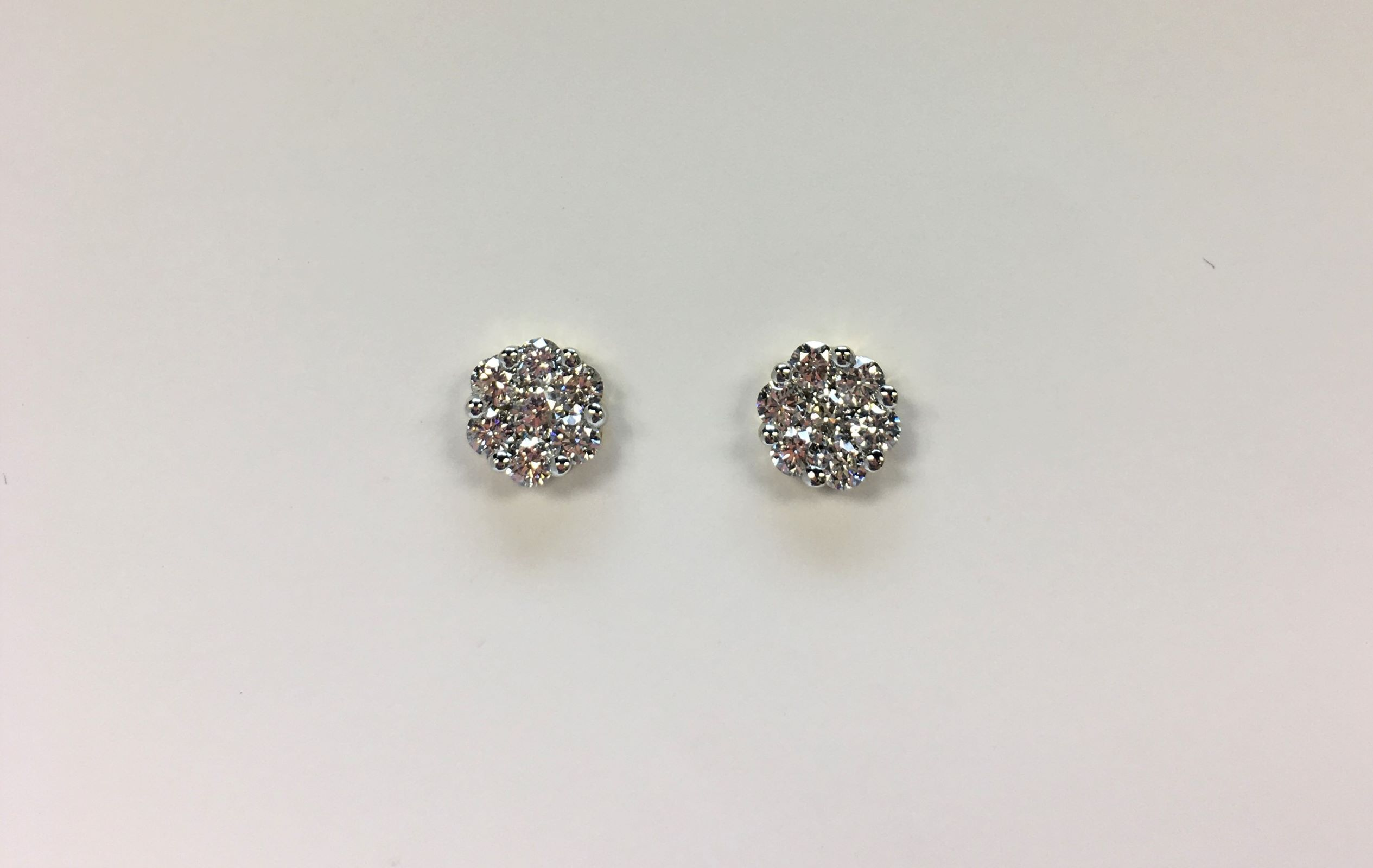 Almost 2 Carats Total Weight Diamond Cluster Earrings