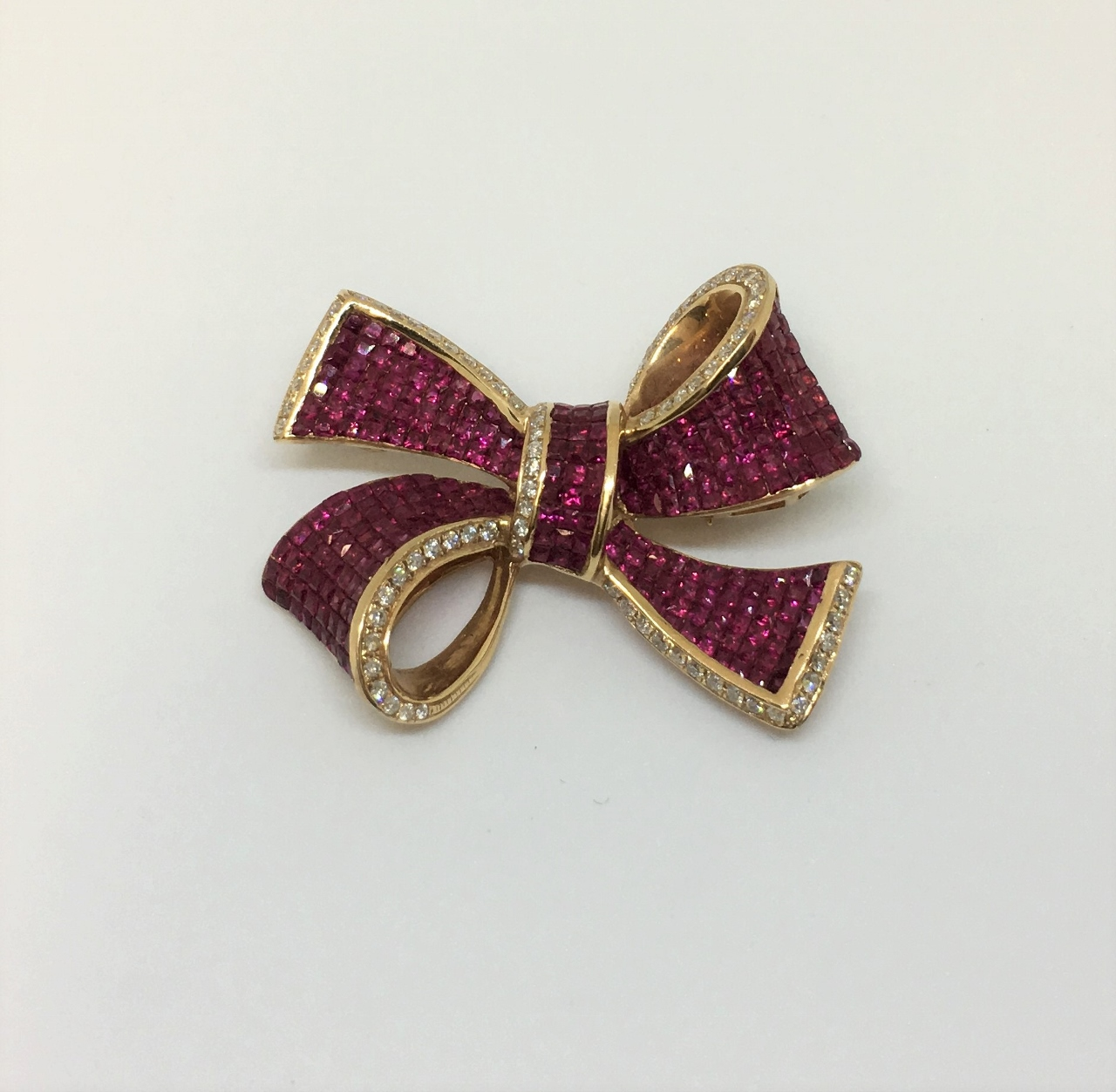 Rose Gold Bow Design Ruby Pendant Brooch