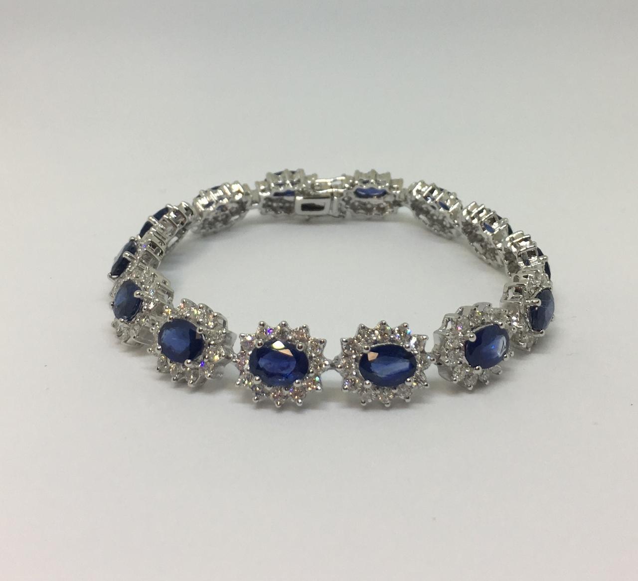 12 Carats Total Weight Sapphire & Diamond Bracelet