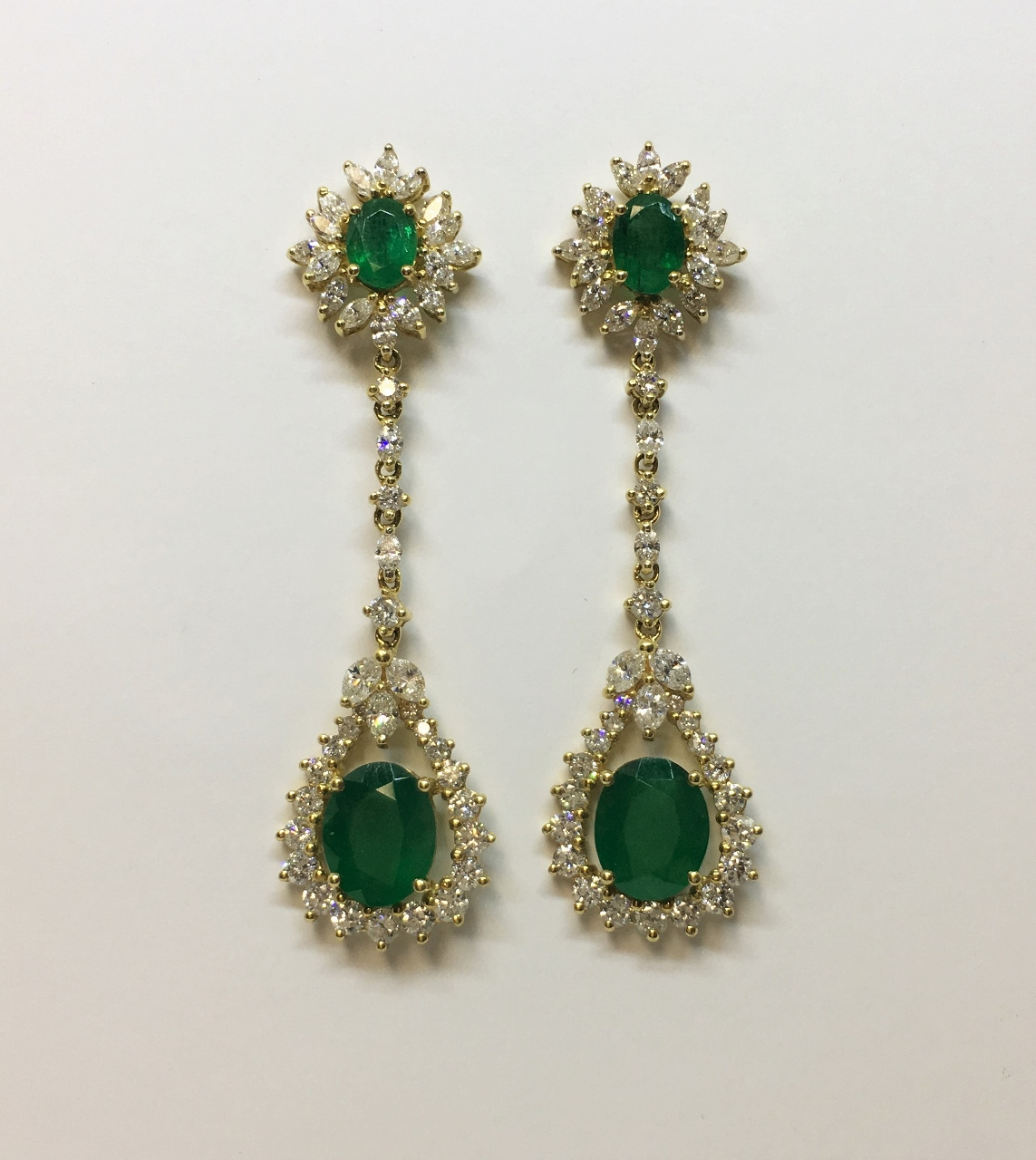 6 Carats Emerald & Diamond Dangling Earrings