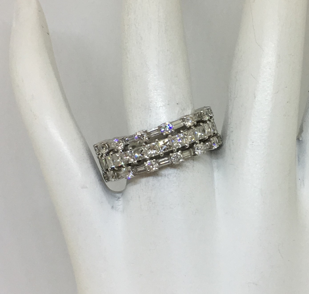 Over 3 Carats Total Weight Diamond White Gold Band