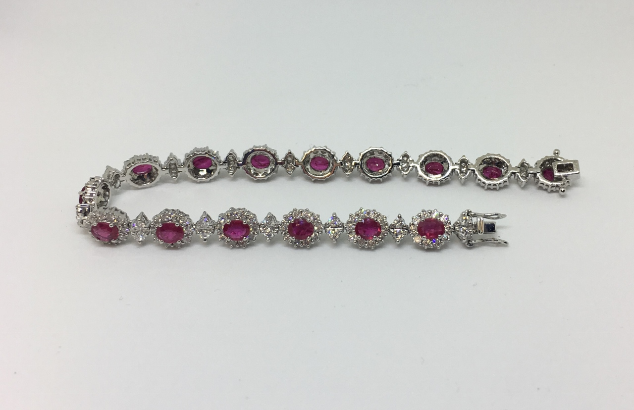 5 Carats Total Weight Ruby Diamond Bracelet