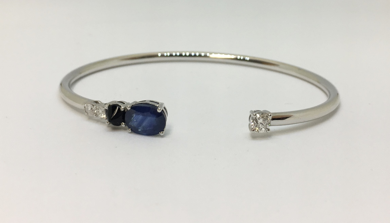 Sapphire & Diamond Open Side Bangle