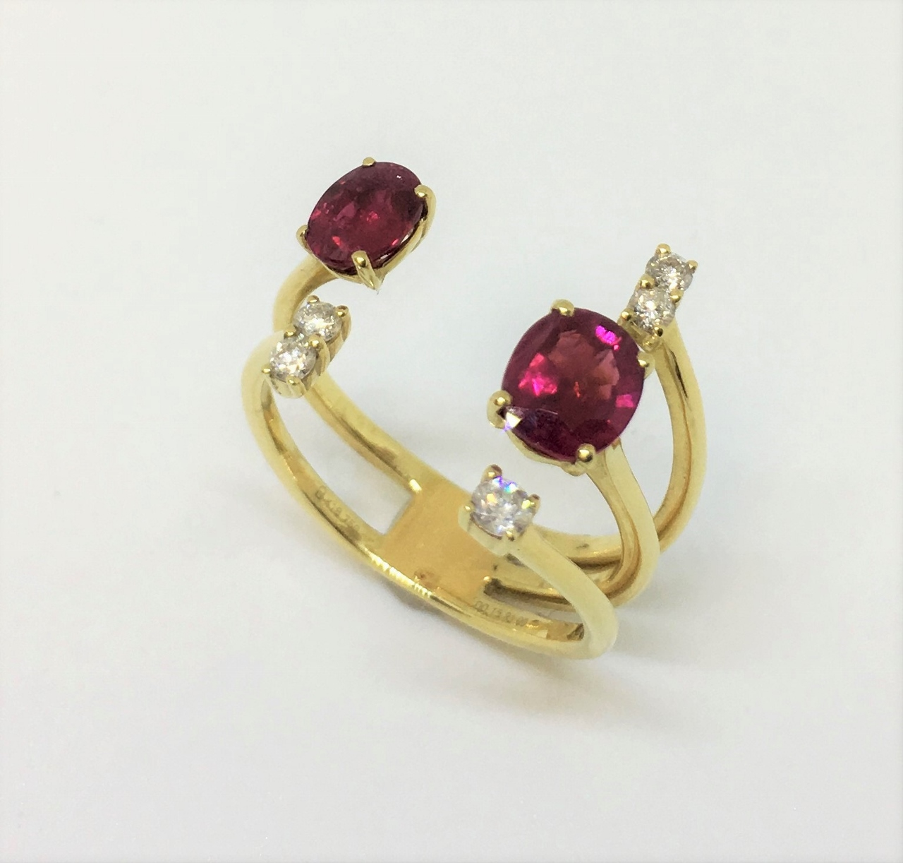Yellow Gold Open Side Ruby Diamond Ring
