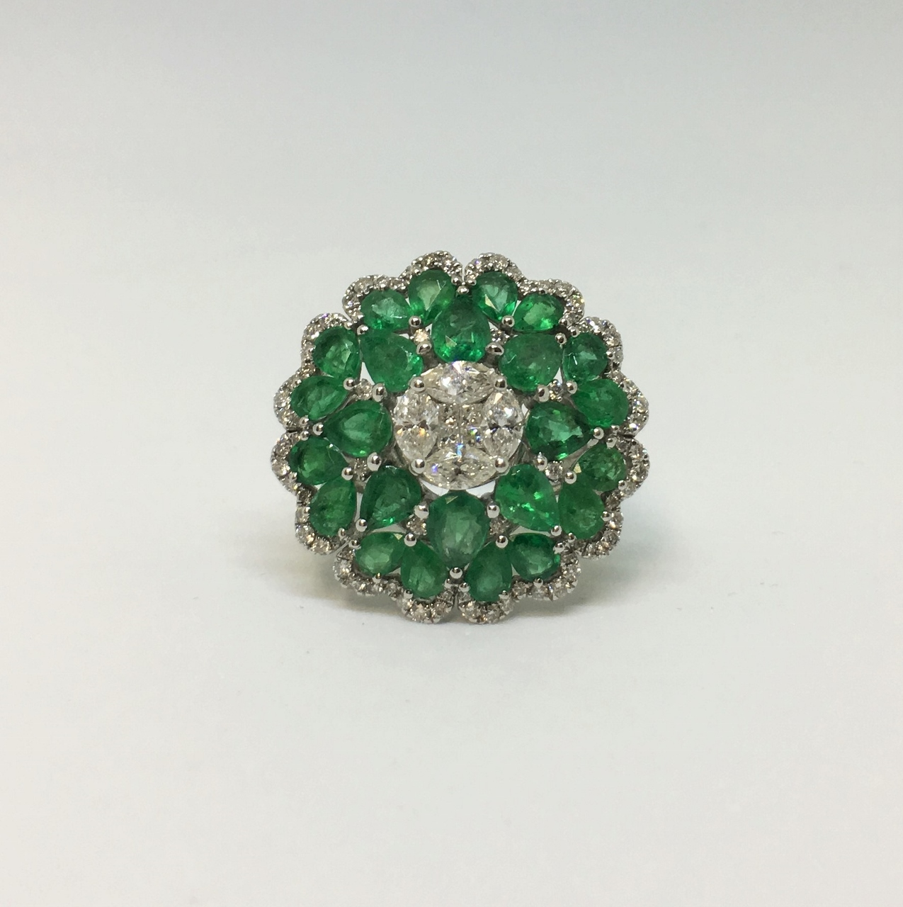 Over 4 Carats Emerald & Diamond White Gold Ring