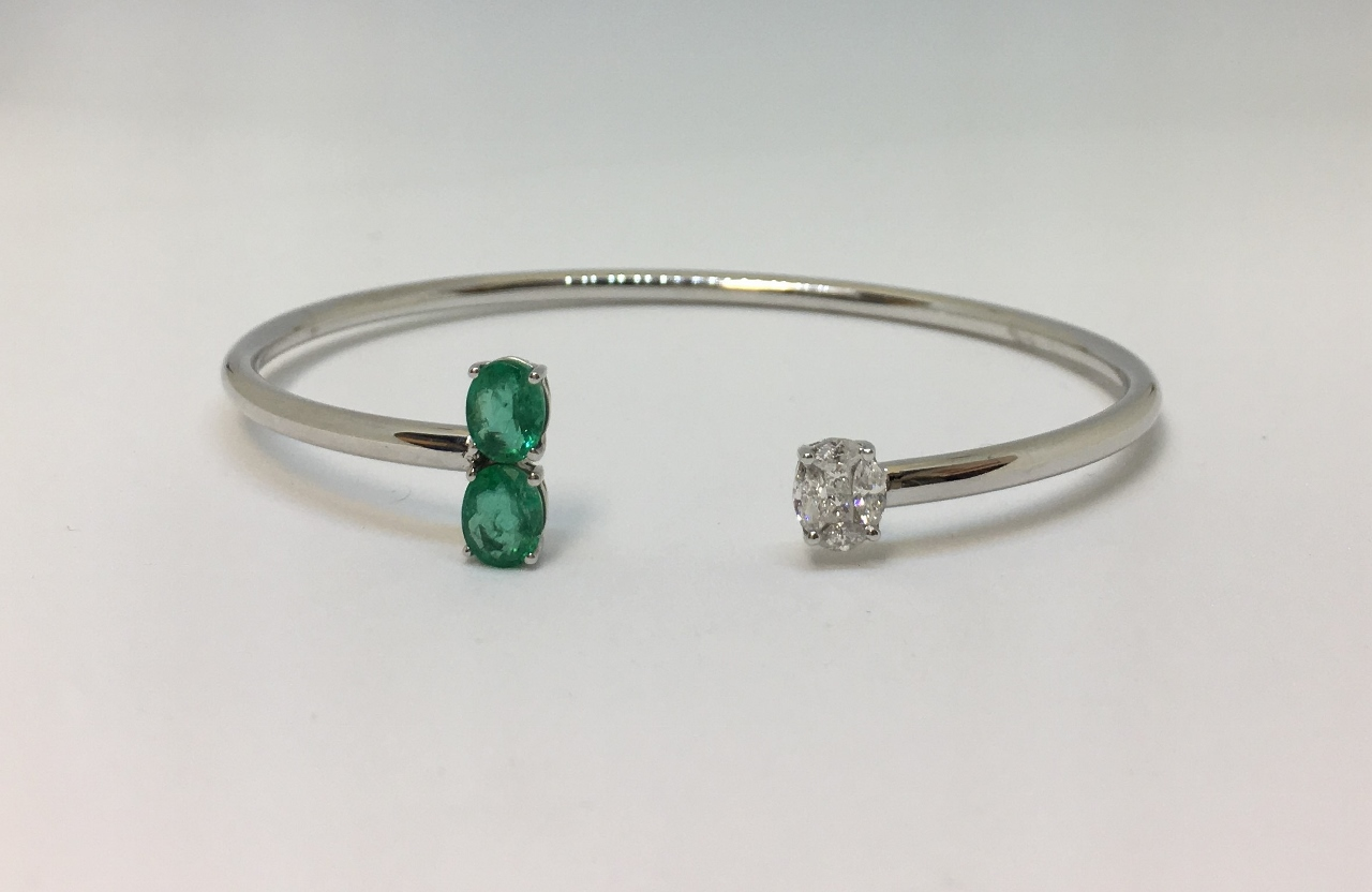Emerald & Diamond Open Side Soft Bangle