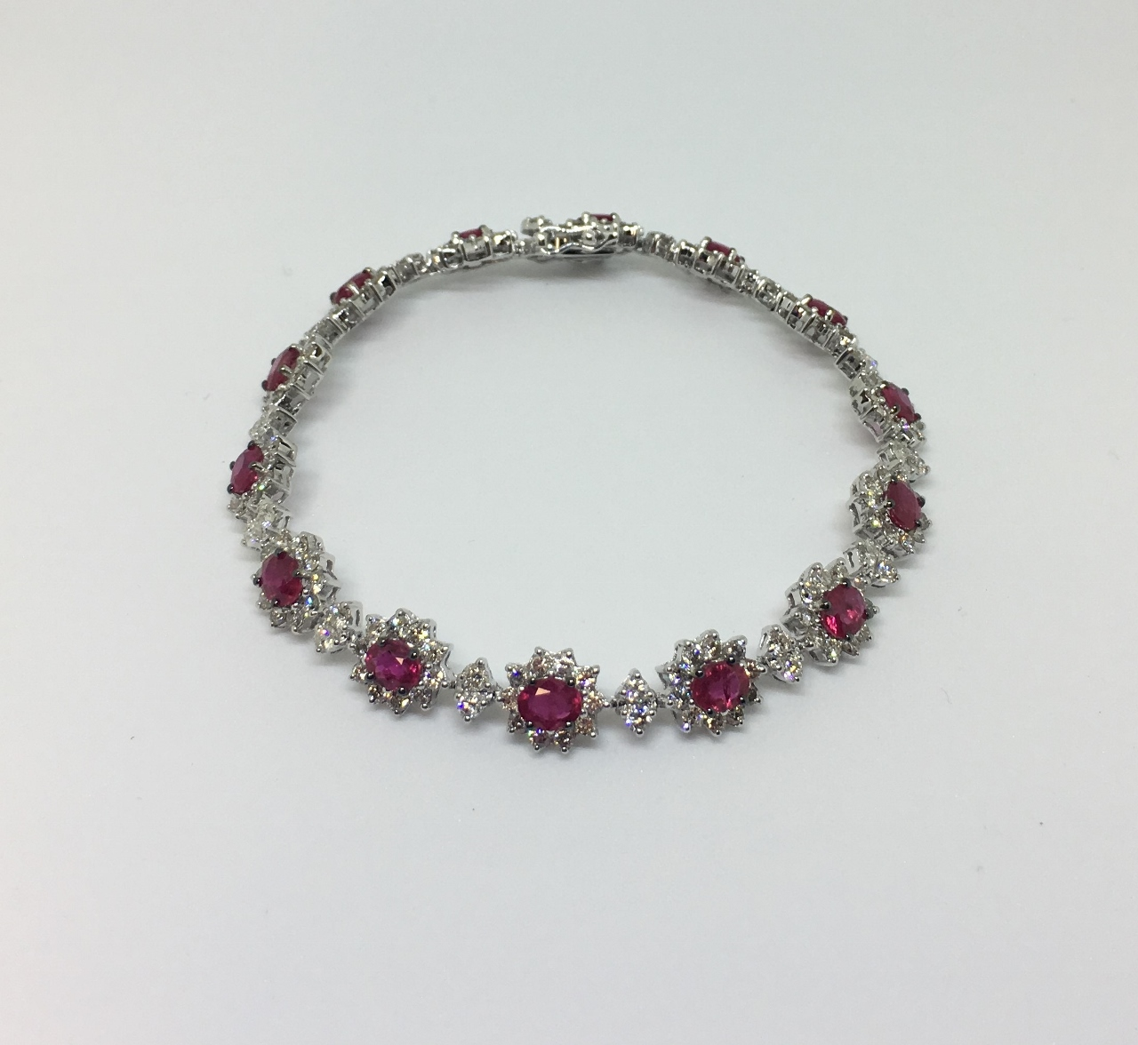 Almost 6 Carats Total Weight Ruby & Diamond White Gold Bracelet