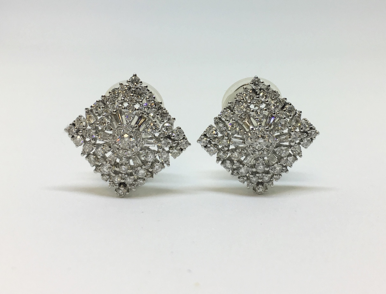 Over 2 Carats Diamond Earrings In White Gold