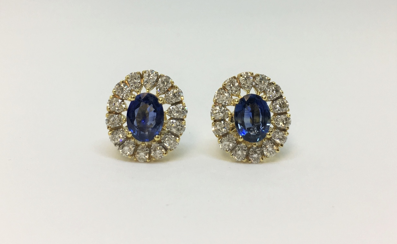 Over 2 Carats Sapphire Yellow Gold Earrings