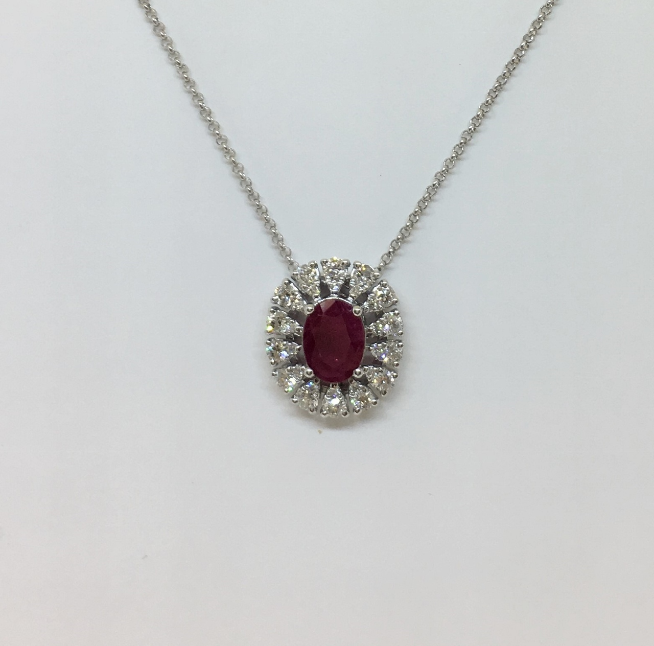 1 Carat Ruby & Diamond White Gold Necklace