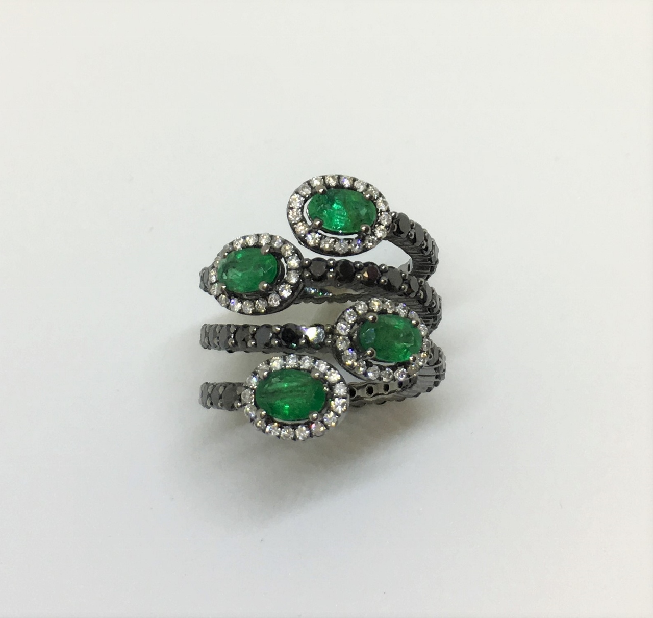 Over 4 Carats Black & White Diamond & Emerald Ring